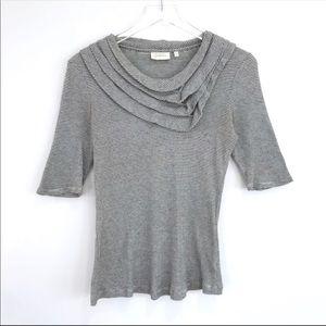 ANTHROPOLOGIE Striped Ruffle Tee blouse Medium